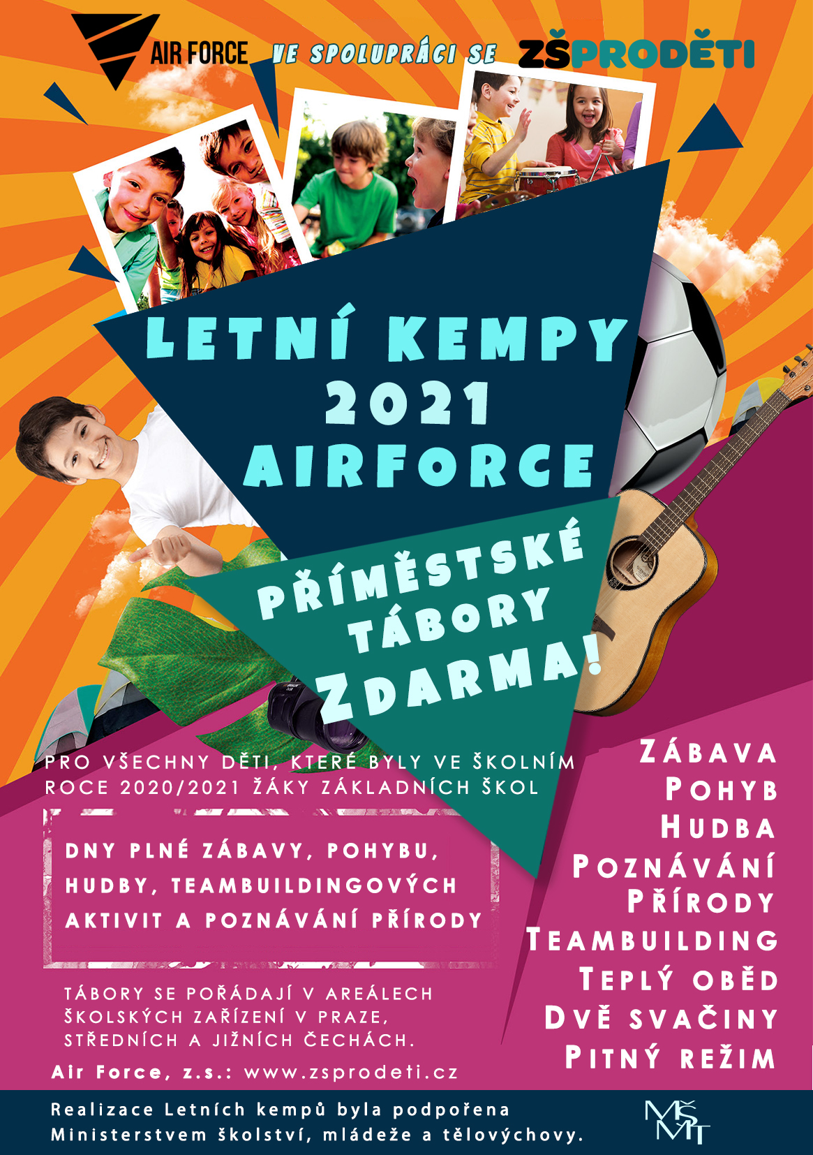 Leták letní kempy Air Force 2021 - příměstské tábory pro děti Praha - dětský tábor